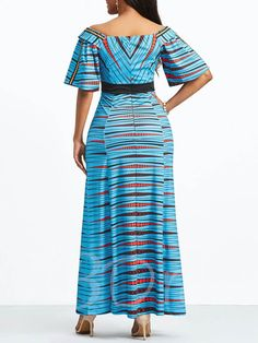 Party Elegant Blue Plus Size Vintage Summer Women Long Dresses Geometric Backless Print Sexy Casual Chic Female African Dress African Prom Dresses, Latest African Fashion Dresses, African Dress, Long Dresses, African Print Dress Designs, Straight Dress, African Attire, Maxi Dress With Sleeves, African Women