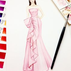 new Ideas fashion spring poster haute couture Wedding Dress Sketches, Dress Design Sketches, Fashion Design Sketchbook, Fashion Design Drawings, Fashion Sketches, Fashion Drawing Dresses, Fashion Illustration Dresses, Arte Fashion, Couture Fashion