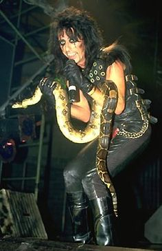Alice Cooper -- snake. saw Alice at Cornwall coliseum many moons ago , we were so close i could almost touch him.