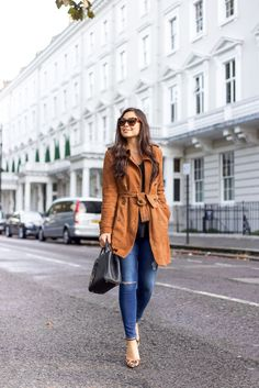 Suede Trench -  Banana Republic trench // AG Jeans Schutz heels // Banana Republic sweater // Fendi bag	 November 9, 2016