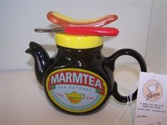 Some claim that if you put a blob of Marmite on a plate and repeatedly tap it with a spoon, it can turn white. Here are some other facts about Marmite Chocolate Pots, Chocolate Coffee, Teapots Unique, Vintage Teapots, Cute Teapot, Perfect Cup Of Tea, Marmite, Teapots And Cups, High Tea