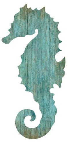 Artist Suzanne Nicoll's wonderful image of the silhouette of an aqua colored seahorse facing to the right printed directly onto a distressed wood panel creating a unique and rustic approach to her art.