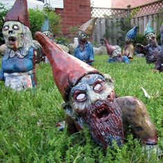 Zombie Garden Gnomes... Gnomes and my mom are an inside joke. I need to put these in her garden and see how long it takes to notice.