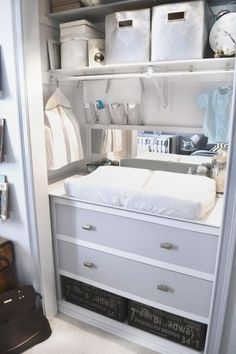 To save room in this multi-functional nursery space, designers removed the door from the closet in the room and installed a changing table equipped with all the essentials. This clever idea keeps clothes, diapers and blankets close at hand. As the baby grows and the changing table is no longer needed, it can be removed from the space and it can function as a big kid's closet.