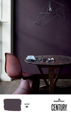 a deep violet, AÇAÍ century soft touch matte, creates an eclectic mood in this kitchen. Purple Paint Colors, Interior Paint Colors, Paint Colors For Home, House Colors, Interior Design, Plum Paint, Purple Wall Paint, Gray Paint, Plum Walls