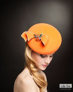 TANGERINE DREAM couture beret from the latest collection SERENDIPITY by LALLU CHIC Hania Bulczyńska #hats #millinery #couturemillinery #lalluchic #haniabulczynska #kapelusz #modystka