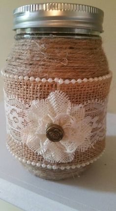 burlap mason jarburlap and lace mason jar rustic wedding