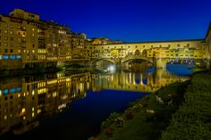 After shooting the west side of Ponte Vecchio from Ponte Santa Trinita I made my way to the east side of the bridge to capture this shot. Night Shot, East Side, Shots, Mansions, House Styles, Bridge, Bridge Pattern, Villas, Palaces