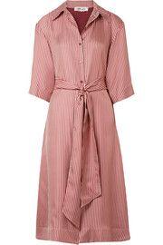 Striped silk-twill midi dress