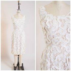 Late 1950s Vintage Dress Creamy White Lace Vintage Late 50s Cocktail Dress Size Medium by stutterinmama on Etsy