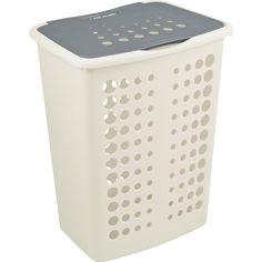 Holder orden på klesvasken! Praktisk plastkurv med bærehåndtak, ventilasjonshull og avtakbart lokk.