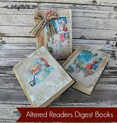 Altered Readers Digest Books, Christmas Decorations, Crafts, Decoupage,  Seasonal Holiday Decor