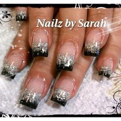 Black tip gel nailsi would go opposite white tips with black black and silver tips nail art design prinsesfo Gallery