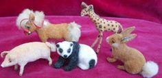 Kunstlerschutz Flock Animals 5 Germany Giraffe Pony Rabbit Panda Bear Pig Horse | eBay