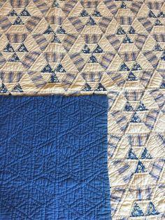 Depression Art Deco Pattern Blue Quilt - Awesome  | eBay