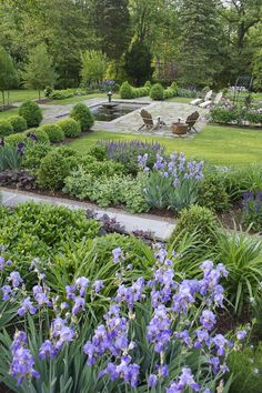 beautiful combination of shrubs with defined walks and seating area Lee Hill Farm 5