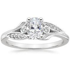 Oval Cut Jasmine Diamond Engagement Ring - 18K White Gold