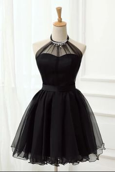 Elegant Halter Black Tulle Beaded Short Cute Prom Dress Homecoming Dresses Party Hoco Gowns LD3036