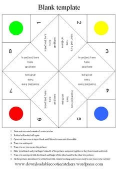 Printable Origami Fortune Teller Template- Turn into Question Grids