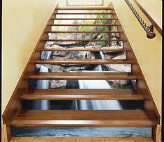 Adorn Waterfall Stair Risers Decoration Photo Mural Vinyl Decal Wallpaper US Decor, Stair Art, Traditional Wallpaper, Door Murals, Vinyl Wallpaper, Stair Risers, Mural Wallpaper, Tile Patterns, Photo Mural