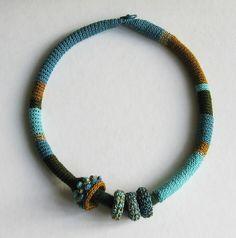 Turquoise snake necklace by Borbala Nanai