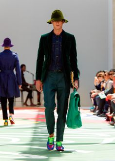 Shades of green on a velvet jacket, linen trousers and the campaign hat