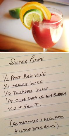 Get ready! National Sangria Day is Friday, Dec. >> My favorite Sangria recipe for the summer! Party Drinks, Fun Drinks, Alcoholic Drinks, Beverages, Sangria Drink, Cocktail Drinks, Cocktails, Sangria Recipes, Cocktail Recipes