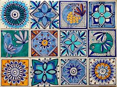 Tile Dot Art Painting, Ceramic Painting, Folk Art Flowers, Flower Art, Doodle Patterns, Tile Patterns, Mexican Pattern, Handmade Tiles, Printable Designs