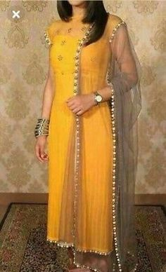 Yellow kurti with grey duppatta made of net and beaded at the rim Indian Gowns, Indian Attire, Pakistani Dresses, Indian Outfits, Punjabi Dress, Salwar Designs, Kurti Designs Party Wear, Blouse Designs, Indian Fashion Modern