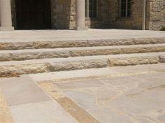 Coping & Stair Treads: EW Gold Rockfaced Treads www.earthworksstone.net
