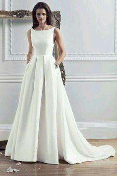 2016 New Style Custom Made Satin Simple Wedding Dresses With Pockets Boat  Neck Pleated Modest Bride Dress Women trajes de novia e4d954d78