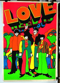 Original Vintage Poster BEATLES ALL YOU NEED IS LOVE black light