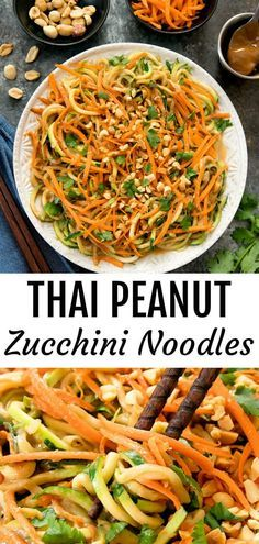 Zucchini noodles are tossed in a flavorful creamy Thai peanut sauce. Ready in less than 30 minutes! Zucchini noodles are tossed in a flavorful and creamy Thai peanut sauce. Cook Zucchini Noodles, Zucchini Noodle Recipes, Zoodle Recipes, Chicken Zucchini, Spiralizer Recipes, Healthy Zucchini, Veggie Noodles, Veggie Recipes, Asian Recipes