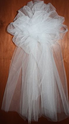 Tulle Bows with full tails for Church Pews or Chairs/ Trellis Bows/Fence...Set of 6