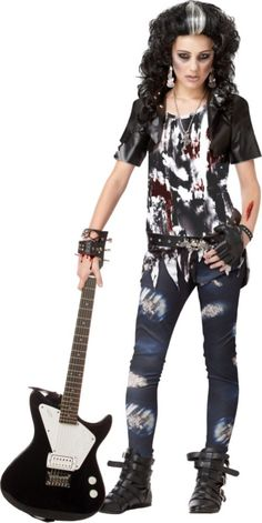 b1186ea20d Get a punk rock zombie look when you wear this rocked out tween girl zombie  costume. This rocked out tween girl zombie costume is a scary goth costume  for ...