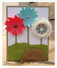 Pop-up-posies-Stamp set: For you Card Stock: Crumb Cake, Lucky Limeade, Whisper White Ink: Pool Party, Lucky Limeade Accessories: Pop-Up Posies kit, paper piercing tool and mat, neutrals glimmer brads, designer builder brads, Itty bitty shapes punch pack