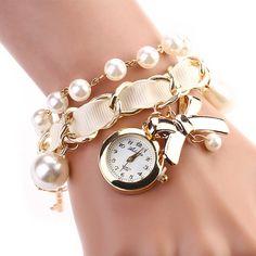 8 цветов мода жемчужный с бантом браслет кварцевые часы женское свободного покроя часы ткани вокруг дамы классические часы купить на AliExpress