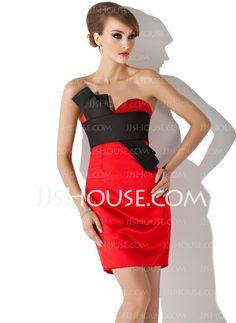 Cocktail Dresses - $119.99 - Sheath Sweetheart Short/Mini Satin Cocktail Dress With Sash (016021156) http://jjshouse.com/Sheath-Sweetheart-Short-Mini-Satin-Cocktail-Dress-With-Sash-016021156-g21156