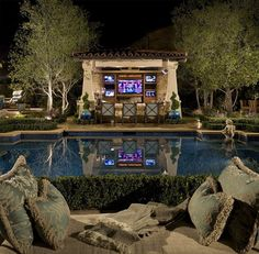 Poolside bar/kitchen with 5 TV's ~ Wow!