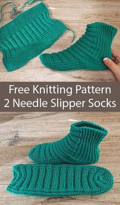 Free Knitting Pattern for Easy Two Needle Ribbed Slipper Socks - Slipper socks k. - Free Knitting Pattern for Easy Two Needle Ribbed Slipper Socks – Slipper socks knit flat in one p - Knit Slippers Free Pattern, Knitted Slippers, Slipper Socks, Knitted Socks Free Pattern, Crochet Slipper Boots, Knitting Socks, Knitting Needles, Sweaters Knitted, Knitting Wool