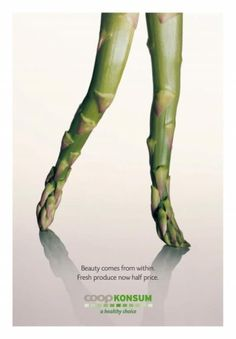 Coop Konsum ad campaign for healthy eating and Fresh produce ad - asparagus Clever Advertising, Advertising Campaign, Advertising Design, Marketing And Advertising, Email Marketing, Ad Design, Graphic Design, Vintage Logo, Montage Photo