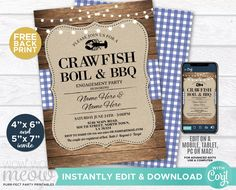 Crawfish Boil & BBQ Invitations Party Invite Couple's Shower INSTANT DOWNLOAD Blue Navy Engagement Couple's Shower Dinner Printable WCWE033 Printing Websites, Printing Services, Online Printing, Engagement Invitations, Couple Shower, Thank You Tags, Wow Products, Shower Party, Bbq