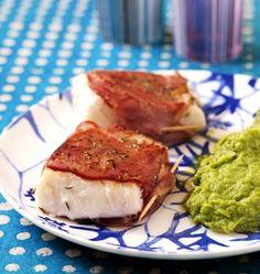 Pavés de cabillaud rôti au bacon et au thym, purée de petits pois, la recette d'Ôdélices : retrouvez les ingrédients, la préparation, des recettes similaires et des photos qui donnent envie !