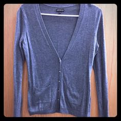Gray Express cardigan V neck cardigan. Jewel buttons, pockets on the front. Medium shade of gray Express Sweaters Cardigans