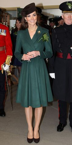 On St. Patrick's Day 2012, the duchess chose the holiday's signature color—green! She wore a coat dress and black belt by Emilia Wickstead and a Lock & Co. hat to present Irish Guard soldiers with shamrocks at Mons Barracks in Aldershot, England.