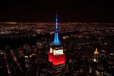 June To show our support for our hometown heroes the New York Rangers, the Empire State Building shines in red, white and blue all night. Congratulations on an amazing season! Empire State Building, Tower Light, Famous Buildings, Famous Landmarks, Happy Labor Day, Chrysler Building, Happy Memorial Day, New York Rangers, New York City