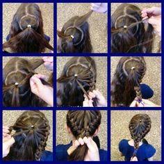 TUTORIAL DE COLETA DE TRENZAS EN FOTO : Peinados y cortes de cabello   Hmmmmmm, I wonder if I should dare to try this on Noelle's hair....LOL