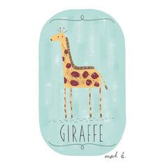 Giraffe - 6x4 illustration print - Available in pink, green, teal, blue & purple - Art for boys room