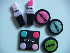 6pcs Mixed Logo Eye Shadow Lipstick Flatback Resin Cabochons #Unbranded