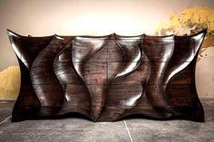 By Caleb Woodard Furniture Unique Furniture, Wooden Furniture, Furniture Making, Furniture Design, Carved Wood Wall Art, Wood Art, Tea Table Design, Wood Shop Projects, Woodworking Skills